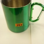 Green / red stainless steel mug
