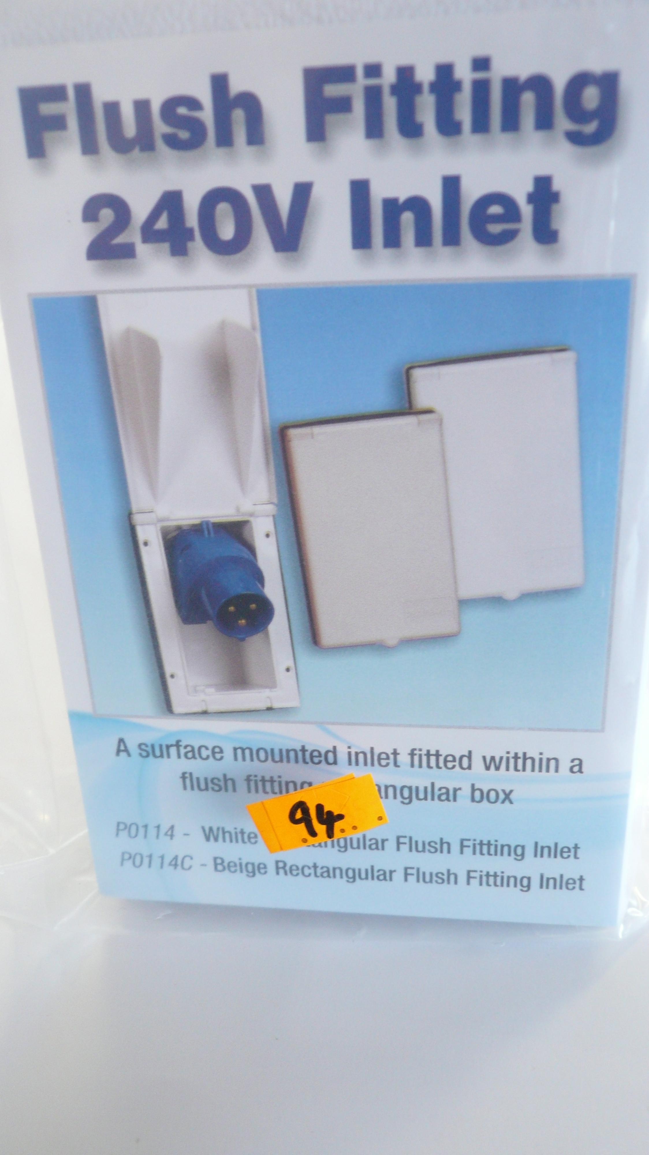 Flush fitting 240V mains inlet
